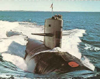 Vintage 1970s Postcard US Navy Submarine USS Cavalia Military Nuclear Attack Ship Dexter Press Card Photochrome Era Postally Unused