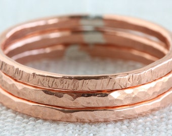 Set of Three Textured Copper Stack Rings