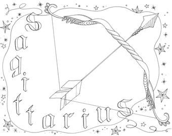 sagittarius zodiac coloring page