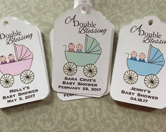 Twin Babies in Stroller Baby Shower Favor Tags, Twins Baby Shower favor tags,Twin Babies Favor tags