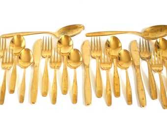 """Gold Flatware Set Rogers Cutlery Co Stainless USA IS """"Golden Modern Living,"""" 22-pc service for 4, Electroplate (as-is)"""
