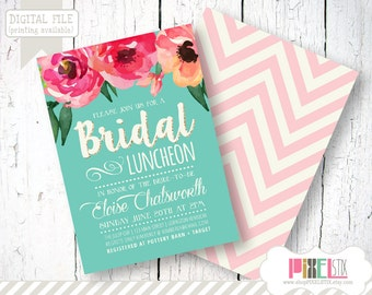Trendy Watercolor Floral Bridal Luncheon Invitation - CUSTOMIZABLE PRINTABLE INVITATION - Watercolor Style Flowers with Teal and Cream