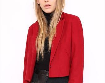 Vintage 80s Red Wool Cropped Blazer Jacket. Medium. UK 12/14.