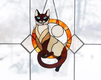 Siamese Cat Stained Glass /  Stain Glass Suncatcher / Stain Glass Panel /Window Hanging Cat / Cat Ornament/ Cat Home Decor / Cat Lover Gift