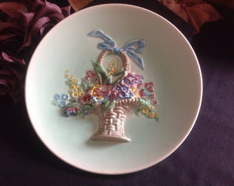"""Clarice Cliff  """" Basket of Flowers""""  wall plate."""