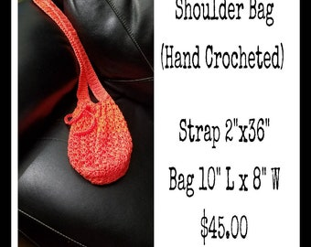 Sunset Orange Shoulder Bag Hand Crocheted