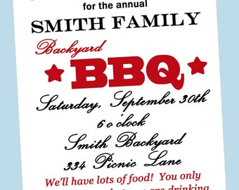 Backyard Barbecue Invitation Printable or Printed with FREE SHIPPING