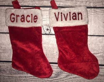 Personalized Christmas Stocking Holiday Red Glitter Name Stocking Stuffer Kids Gift Dogs Name Customizable Present
