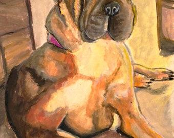 Custom pet portrait 9x12 inches watercolor on paper