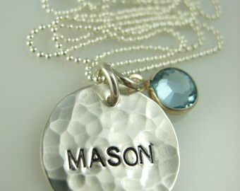 Hand Stamped Necklace - Engraved Necklace - Silver Name Necklace