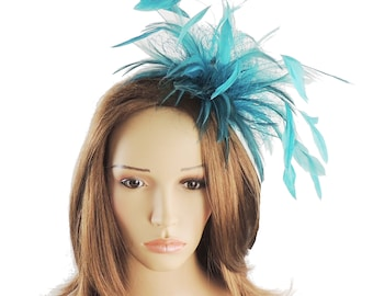 Cleo Teal Green Fascinator Hat for Weddings, Races, and Special Events With Headband(20 colours)