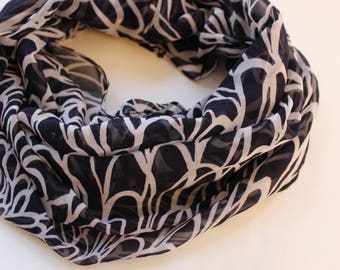 Infinity scarf - dark blue print scarf - chiffon scarf - gift for her - circle scarves - loop scarf