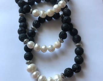 Essential Oil Diffuser Bracelet w/ Fresh Water Pearls