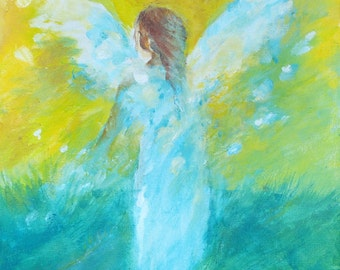 "Original Angel Painting on Canvas ""Sowing Sparks"" 12 x 9 inch Waldorf Art Angel Chakra Acrylic colors"