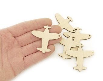 5pcs. Wooden Vintage Plane (5cm) Shapes Wood Craft Ornament Retro Plane Art Projects Craft Decoration Gift Decoupage MG000521