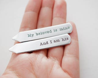 My beloved is Mine And I am His Collar Stays - Gift for Men, Gift for Him - Suit Accessory