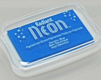 Tsukineko Radiant Neon Stamp Pad -- Electric Blue -- Luscious pigment ink with eye-popping color