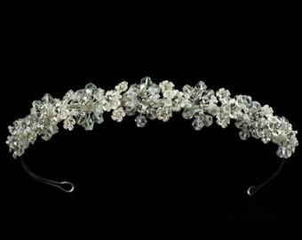 Crystal and Pearl Bridal Tiara - Bridal Headpiece - Bridal Headband ,Bridal Wedding Tiara ,Crystal and Pearl on Silver- Tone Band