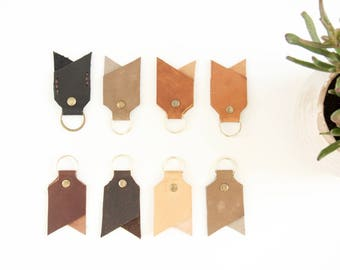 Handmade leather key chain // Hand cut veg tanned leather keychain