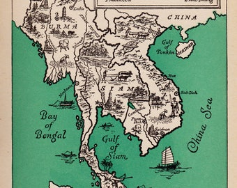 Vintage BURMA Picture Map Print of Malaysia Map of Indochina Map 1940s Myanmar Map Pictorial Map Travel Map Gallery Wall Art Home Decor