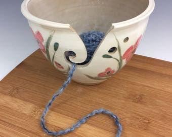 Yarn bowl, Pottery Yarn Bowl, Yarn Holder, Knitting Bowl, Crochet Bowl,  Poppies, Flowers