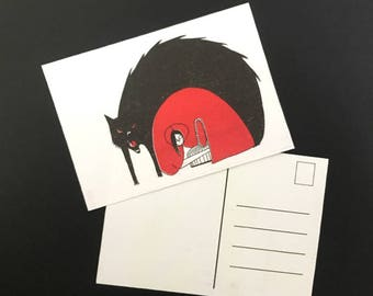 Little Red Riding Hood with basket - postcard (riso printed fairytale stationary)