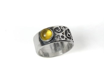 Yellow Tourmaline - October Birthstone - Asymmetrical Filigree Ring - Oxidized Sterling Silver Ring