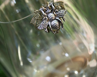 Silver and Bronze Bee Wine Glass Marker