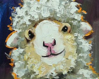 Sheep painting 36 12x12 inch original oil painting by Roz
