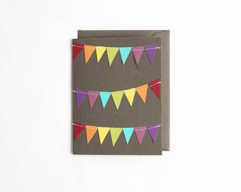 Fun Greeting Card, Cheer Up Card, Rainbow Birthday Card, Colorful Stationery, Hand Cut Notecard, Thank You Card, Paper Pieced Stationary,