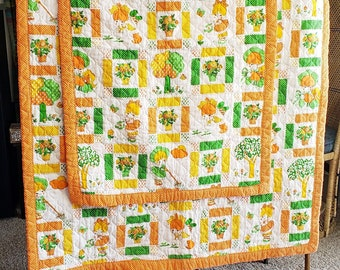 70's Baby Quilts Set of 2, Orange Baby Quilt, Baby Girl Quilt, Vintage Baby Blankets, Baby Quilts, Set of 2 Quilts