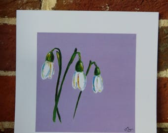 Snowdrops on purple - 20cm x 20cm print