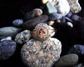 """Ring Morganite eco-friendly 10k solid yellow gold - Ethical all Natural Fair Trade stones 1/2"""" size 8.5 OOAK Engagement -ready to mail"""