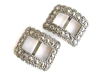 Cut Steel Shoe Clips Buckles French Jewelry Supply Assemblage Dressmaker Costume Design France
