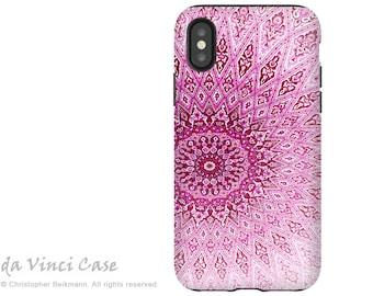 Pink Zen Mandala - Artistic iPhone X Tough Case - Dual Layer Protection for iPhone 10 - Rose Mandala by Da Vinci Case