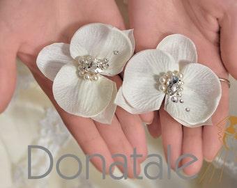 Bridal Hair Flower - Ivory Orchid Bridal Headpiece- Wedding hair Pins- Wedding Hair piece-Orchid Hair Clip- Beach Wedding - RENEE