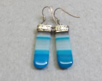 Sterling Silver Ocean Blue Dyed Agate Dangle Pierced Earrings