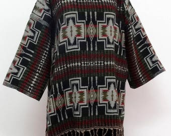 PULLOVER tunic grey black and green, round neck, long sleeves, large size
