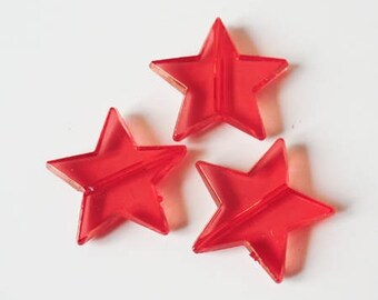 5 x beads 22mm TRANSPARENT red plastic star