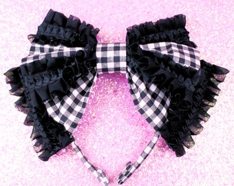 MADE TO ORDER-Black and white gingham lolita headbow-gothic lolita-sweet lolita-oversized head bow-head eating bow-frills-chiffon-ruffles