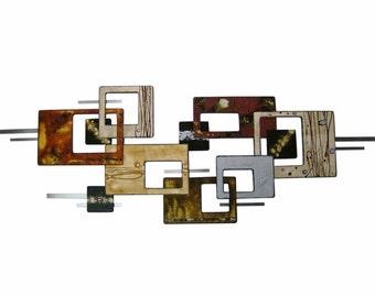 "Floating Liquid handmade wall sculpture- contemporary modern Wall decor - mid century Wall Art - 60""x22"" unique hand painted Art by DAS"