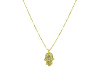 Hamsa Necklace, Hand of Fatima Necklace, Evil eye necklace, Silver necklace, Gold necklace, Rose Gold, Short necklace,