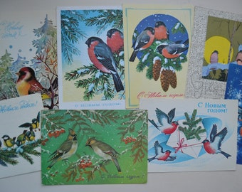 Lot of 8 used Soviet vintage postcards, Birds postcards, Christmas postcards, New Year, Bullfinch, Winter Scenes, Christmas illustration