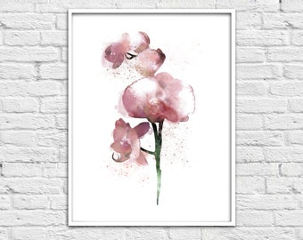 Home decor painting, jpg printable digital poster instant download,file, abstract, orchid, decoration, digital,abstraction flower watercolor