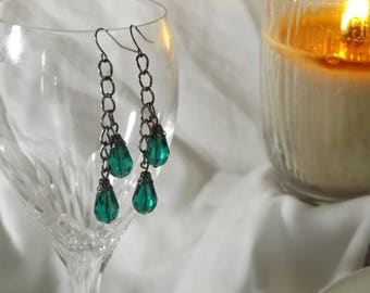 Gunmetal Silver and Faceted Green Drop Earrings Prom FREE SHIPPING!