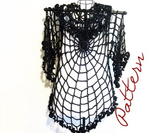 PDF Crochet Pattern: Spiderweb Lace Jacket/ Cardigan/ Shrug Gothic All Sizes DIY Adult Halloween Costume