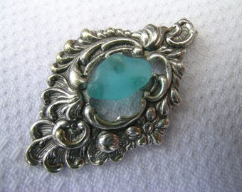Gorgeous unique vintage upcycled rare English turquoise sea glass and silver coloured metal pendant