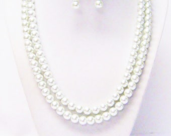 Two Strand 8mm White Glass Pearl Necklace with Earrings