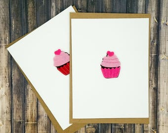 Valentine Card Set of 5 - Handmade Pink, Red and White Felt Cupcake Card - Chocolate & Vanilla Valentine's Day Cards made from Cardstock
