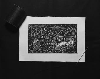 ON SALE NOW!!! Sew-On Patch - Camper Van Forest Bonfire Camping Scene - Block Print